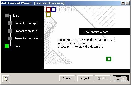 Auto Content Wizard - Finish