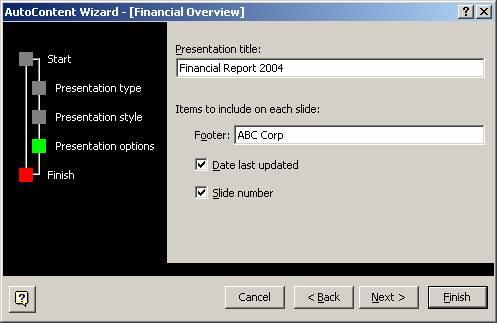 Auto Content Wizard - Presentation Option