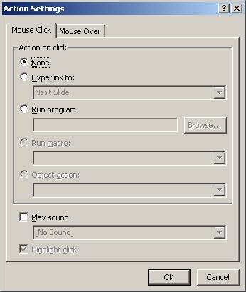 Power Point Action Settings