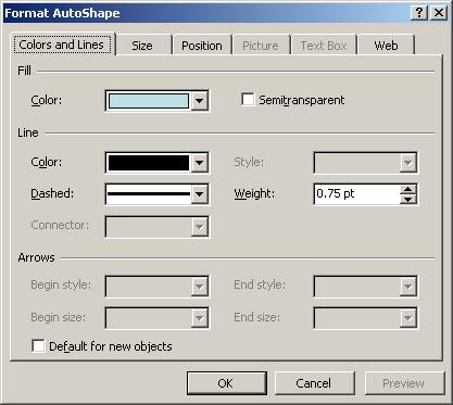 Power Point AutoShapes Colors and Lines